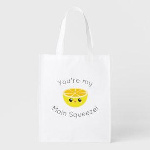 Funny You Are My Main Squeeze Kawaii Lemon Humour Reusable Grocery Bag