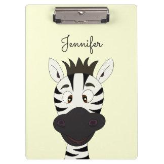 Funny zebra cartoon clipboard