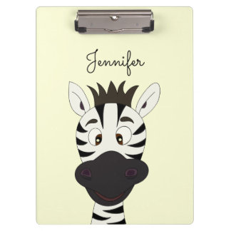 Funny zebra cartoon kids clipboard