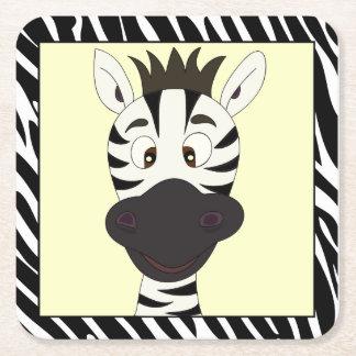 Funny zebra cartoon kids square paper coaster