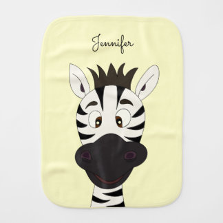 Funny zebra cartoon yellow name baby burp cloth