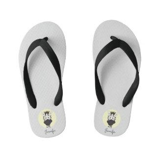 Funny zebra cartoon yellow name kids slippers thongs