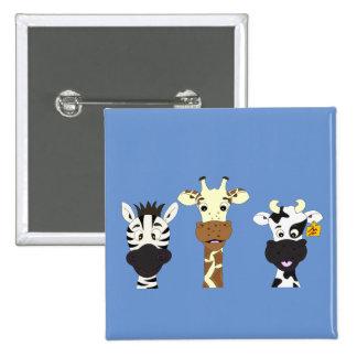 Funny zebra giraffe cow cartoon 15 cm square badge