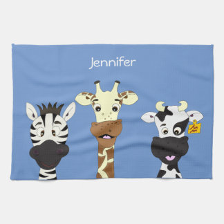 Funny zebra giraffe cow cartoon blue kitchen towel