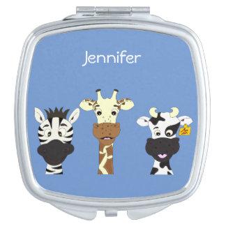 Funny zebra giraffe cow cartoon blue name mirror makeup mirror