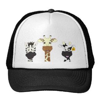 Funny zebra giraffe cow cartoon cap