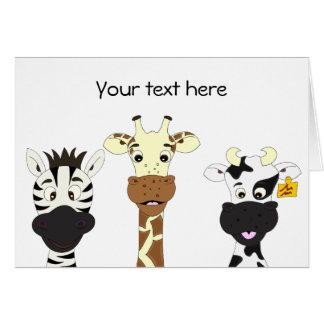 Funny zebra giraffe cow cartoon kids greeting card