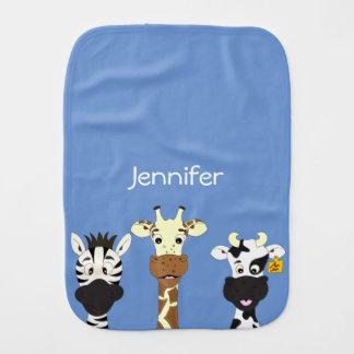 Funny zebra giraffe cow cartoon name baby burp cloths