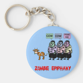 Funny zombie basic round button key ring