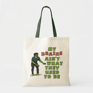 Funny Zombie Brains Old Age Canvas Bags