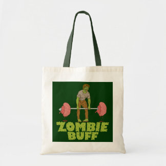 Funny Zombie Buff Weight Lifter Tote Bags