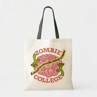Funny Zombie College Logo Tote Bag