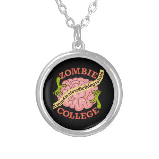 Funny Zombie College Logo Silver Plated Necklace