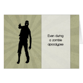 Funny Zombie Shambling with Sunburst for Birthday Greeting Card