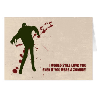 Funny Zombie with Blood Valentine's Day Card