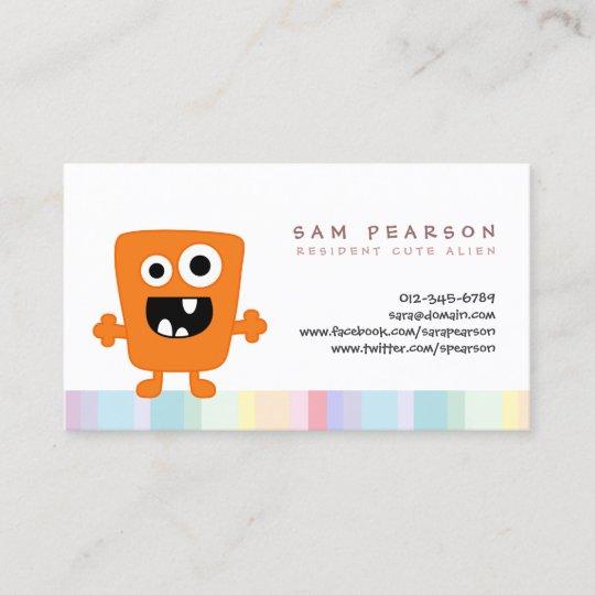 Funnytitle Cute Orange Monster Alien Kids Namecard Zazzle