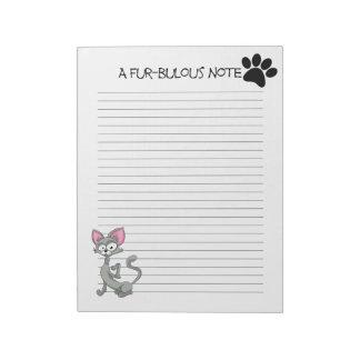 """Fur-bulous Cat Note Pad 40 Tear Away Pages 8.5x11"""""""