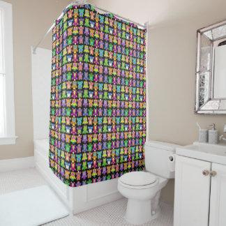 Furby Frenzy - on black Shower Curtain