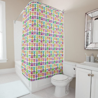 Furby Frenzy - on white Shower Curtain