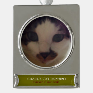 """""""FUREVER IN OUR HEART"""" photo and name custom Silver Plated Banner Ornament"""