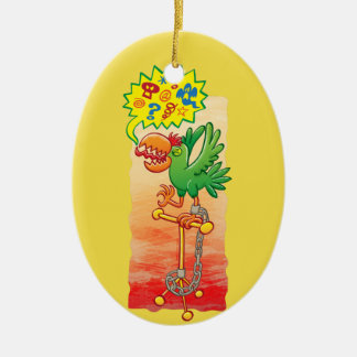 Furious green parrot saying bad words ceramic ornament