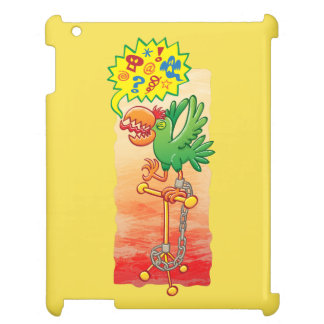 Furious green parrot saying bad words cover for the iPad 2 3 4