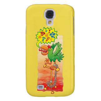 Furious green parrot saying bad words galaxy s4 cover