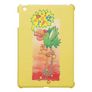 Furious green parrot saying bad words iPad mini cases