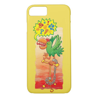 Furious green parrot saying bad words iPhone 8/7 case