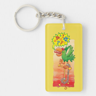 Furious green parrot saying bad words key ring
