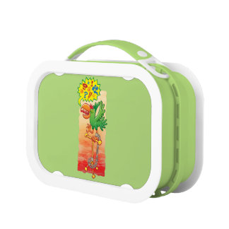 Furious green parrot saying bad words lunch box