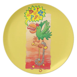 Furious green parrot saying bad words plate