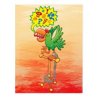 Furious green parrot saying bad words postcard