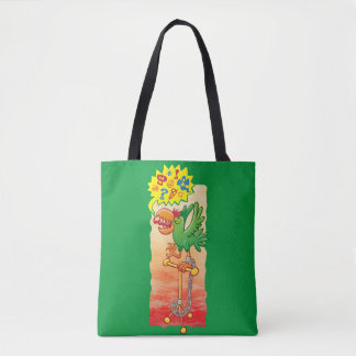 Furious green parrot saying bad words tote bag