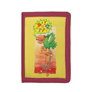 Furious green parrot saying bad words trifold wallets
