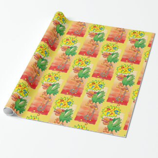 Furious green parrot saying bad words wrapping paper
