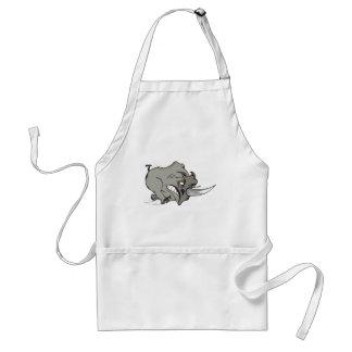 furious rhinoceros - angry rhino comic design standard apron
