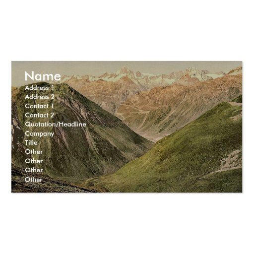 Furka Pass, view from the summit, Bernese Oberland Business Card Templates