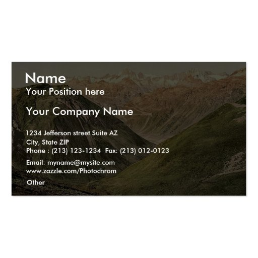 Furka Pass, view from the summit, Bernese Oberland Business Cards
