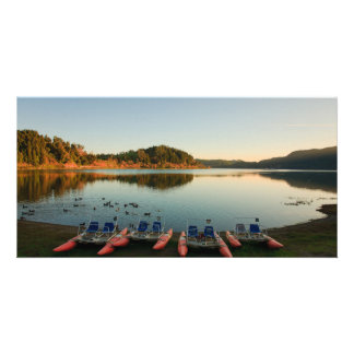 Furnas lake at sunset customized photo card