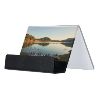 Furnas lake at sunset desk business card holder