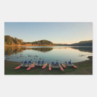 Furnas lake at sunset rectangular sticker