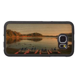 Furnas lake at sunset wood phone case