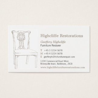 Furniture antique chair restorations business card