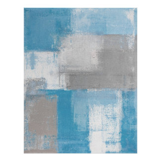 'Furry' Grey and Teal Abstract Art Poster Print