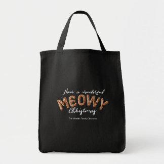 Furry Meowy Christmas Fun Typography Christmas Tote Bag