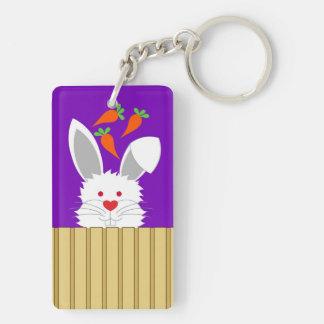 Furry Rabbit Key Chain Rectangular Acrylic Keychains