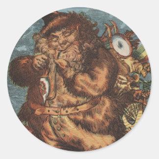 Furry Santa Smoking His Pipe Classic Round Sticker