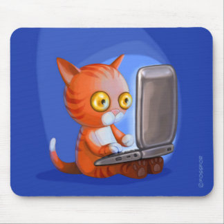 Furry Surfers Ginger Cat on a laptop Mousepads