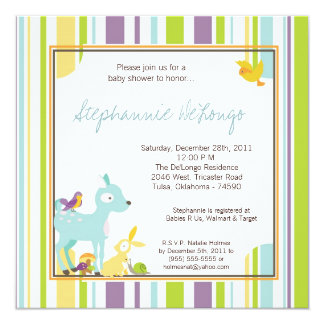 Furry Woodland Forest Anima Baby Shower Invitation